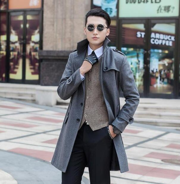 b29f8cba203f4 2019 Men s Clothing Plus Size Long Wool Coat Men Grey Single Breasted Coat  Outerwear Trench Coats Sobretudo Manteau Homme S 9XL From Yukime