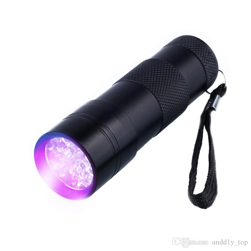 395-400NM luz ultravioleta UV Mini portátil de la linterna LED de la antorcha UV 12 Escorpión Negro buscador del detector de luz UV-12