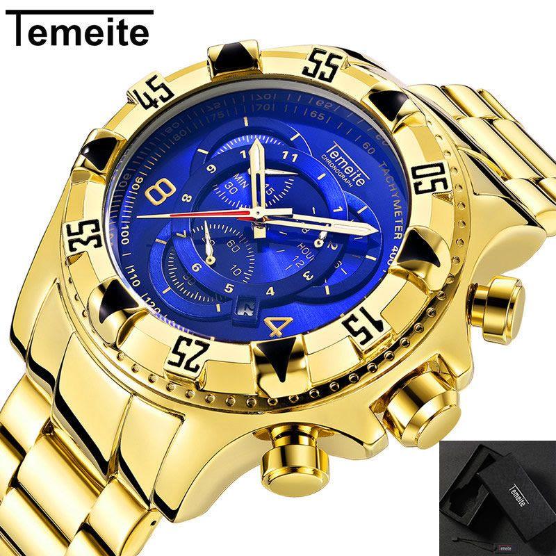 8a9f22585b5 Compre TEMEITE Mens Multifunções Relógio De Luxo De Ouro Azul Grande Homem  De Marcação De Quartzo Relógios De Pulso Calendário Cronógrafo À Prova D   água ...