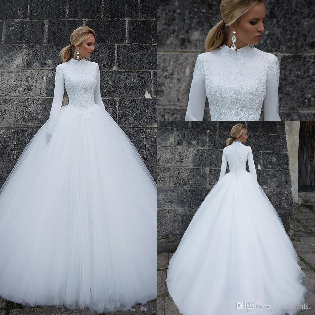 Discount 2018 Elegant High Neck Wedding Dresses With Long Sleeves Lace A Line Satin Empire Applique Zipper Tulle Bridal Gowns Custom M Vintage: High Neck Wedding Dress At Websimilar.org