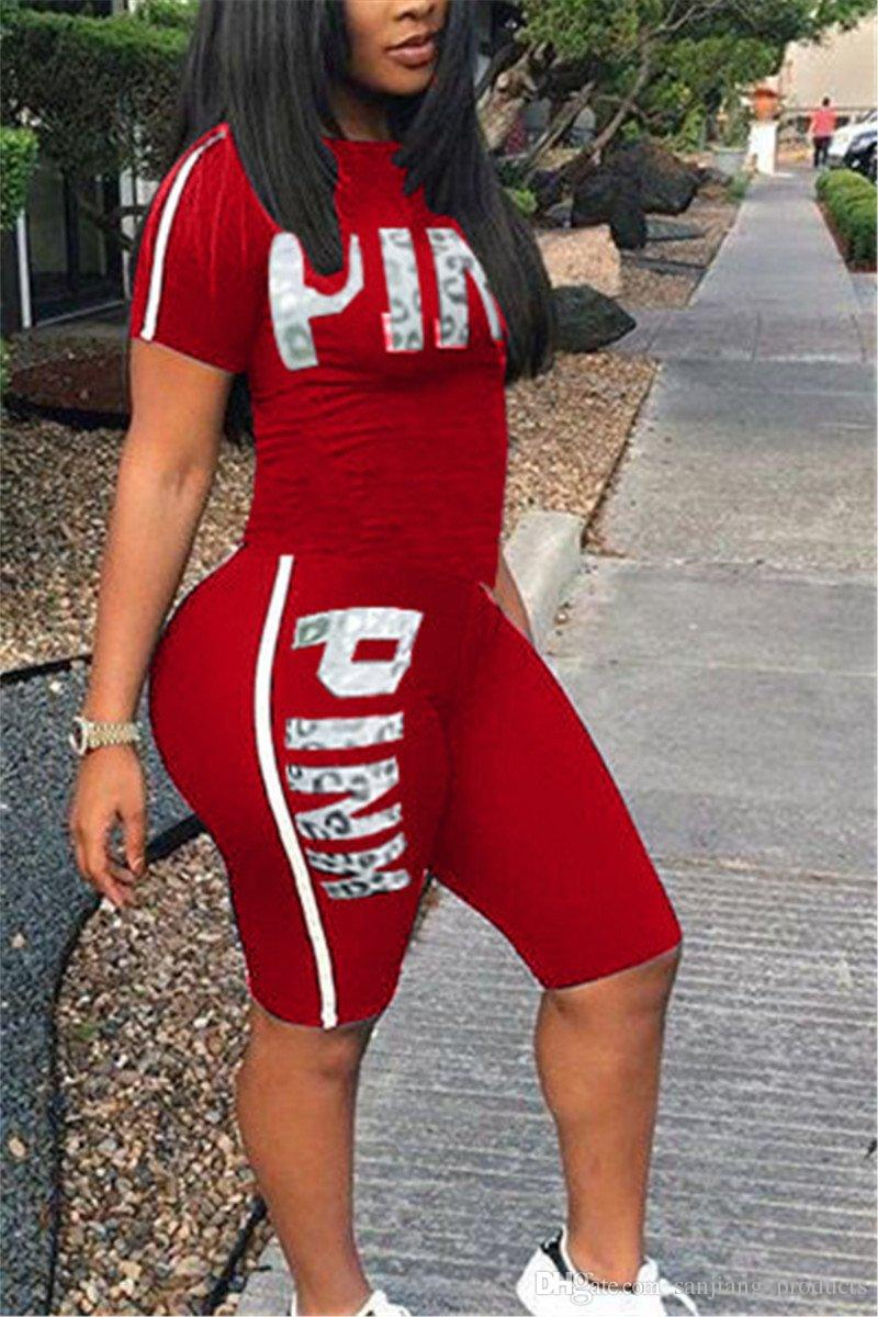 Love Pink Letter Women Shorts Outfit Set New Designer Girl's Tracksuit Shorts T-shirts Suits Summer Lady Jogging Sportswear S-3XL