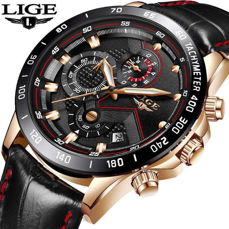 6392de3a0197 Großhandel Lige Herrenuhren Top Marke Luxus Quarzuhr Gold Männer Casual  Leder Wasserdicht Sport Armbanduhr Relogio Masculin Von Bohaishangmao,   5.53 Auf De.