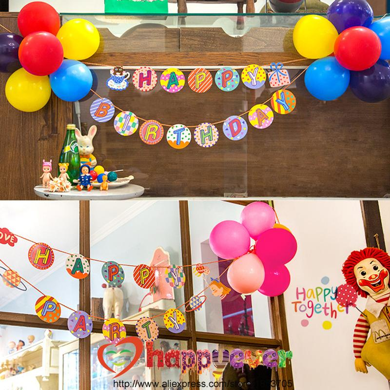 2018 Wholesale One Set Letter Garland With Balloon Flower Happy Birthday Party Decoration Welcome Wall Decor From Hobarte