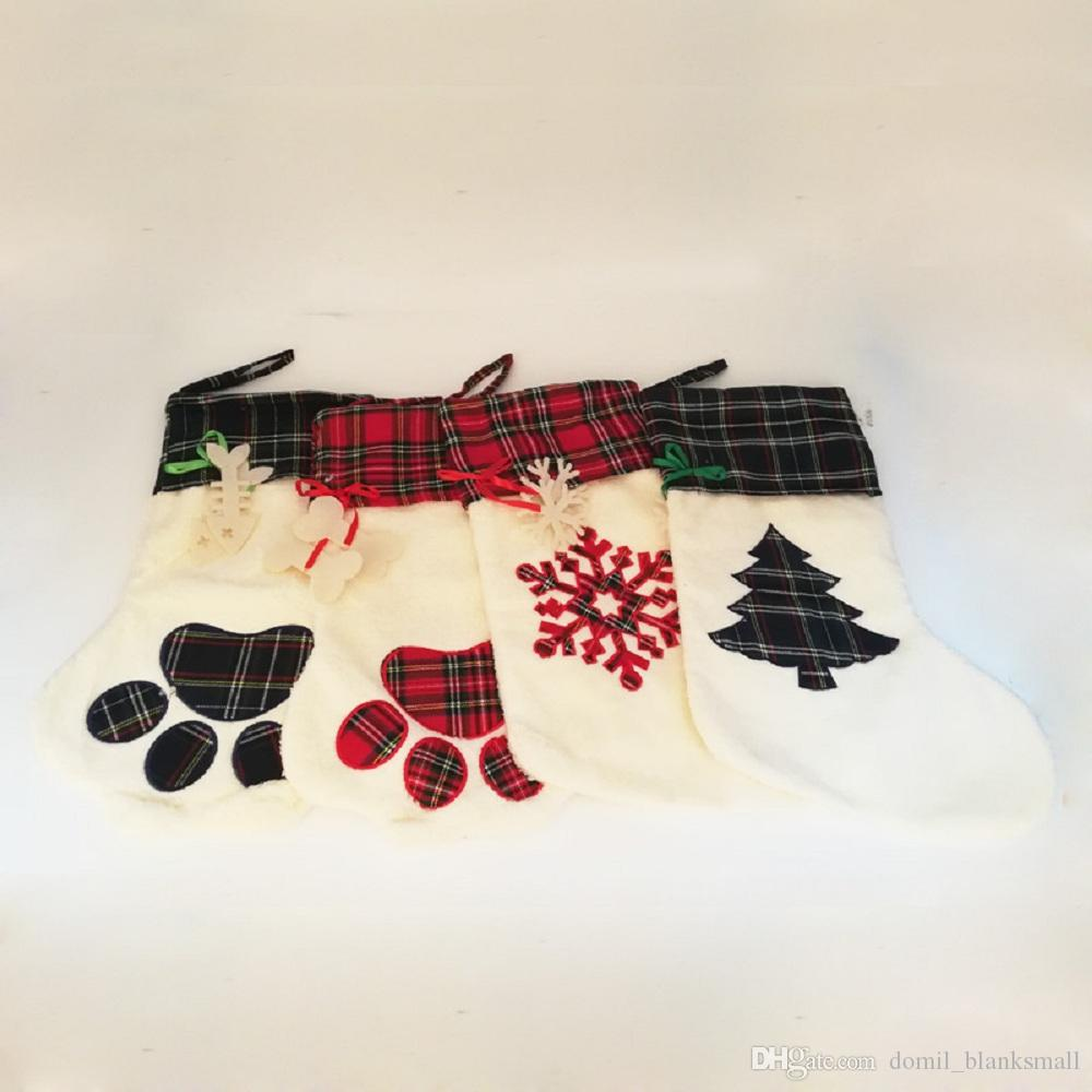 4f36da4b6a7 2019 Wholesale Blanks PAWS Christmas Stockings Plaid Snowflake Xmas Socks  Christmas Tree Decorations Christmas Gift Holder DOM1091060 From  Domil blanksmall