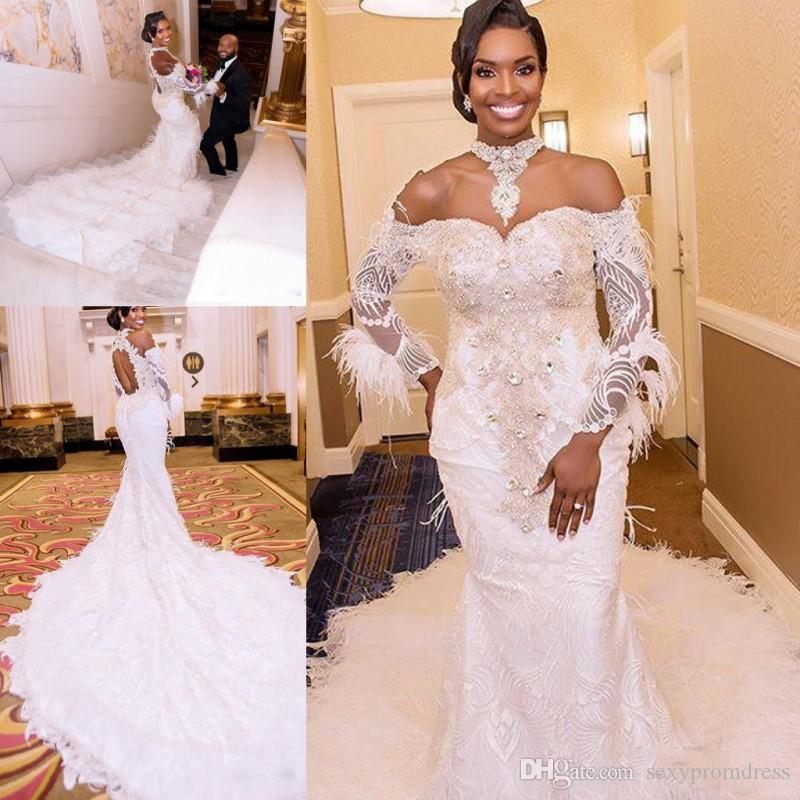 37a3d16e137 Lace And Feather Wedding Dresses Sexy Off Shoulder Sheer Long Sleeves  Mermaid Bridal Gowns Dubai Backless Court Train Wedding Vestidos Wedding  Dress Bridal ...