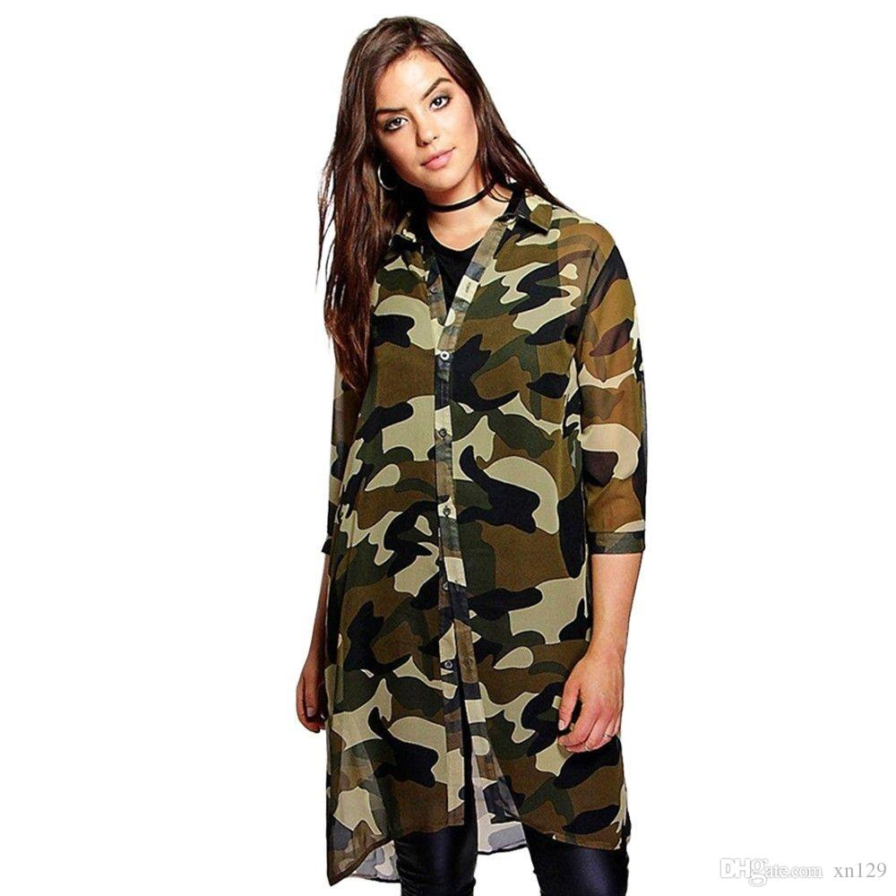 Plus Size Women Chiffon Camo Camouflage Shirt Dress 3/4 Sleeve