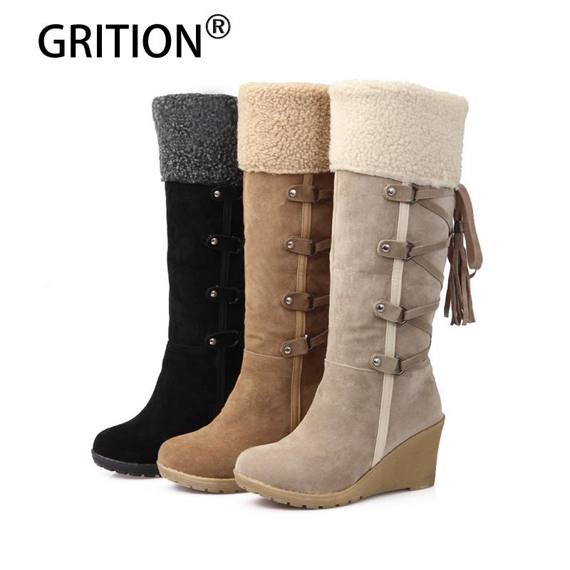 3768af4a729b GRITION Mid Calf Lace Up Women Boots Wedges Round Toe Black Camel Yellow  Fashionable Super Warm Plush Snow Boots Over Knee Boots Boots For Girls  From Aiyin