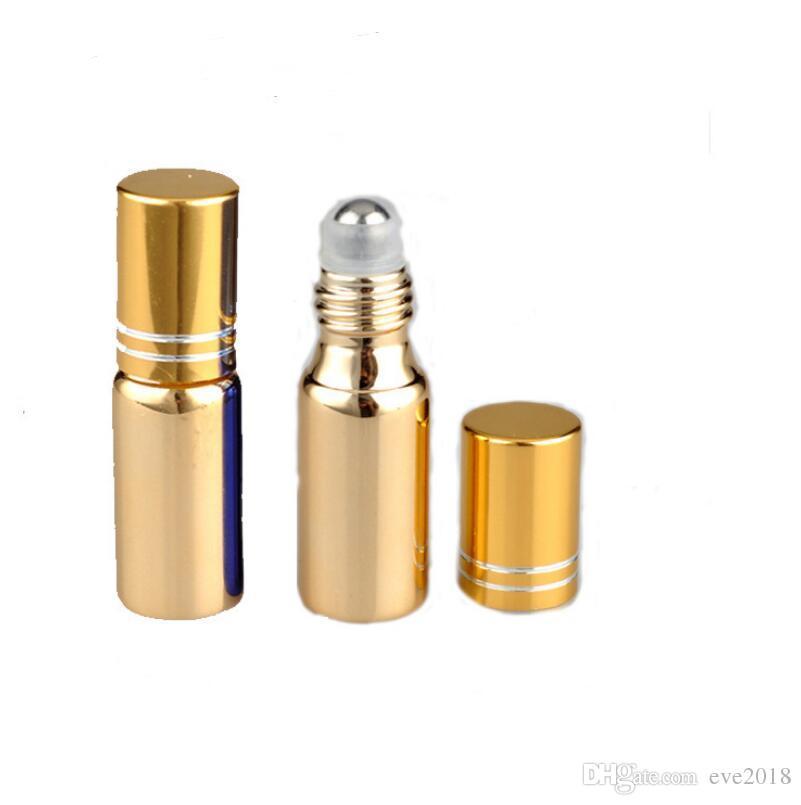 5 ML UV Boş Cam Ile Doldurulabilir Parfüm Şişesi Çelik Topu Doldurulabilir Parfüm Uçucu Yağ Konteyner Üzerinde Rulo LX2260