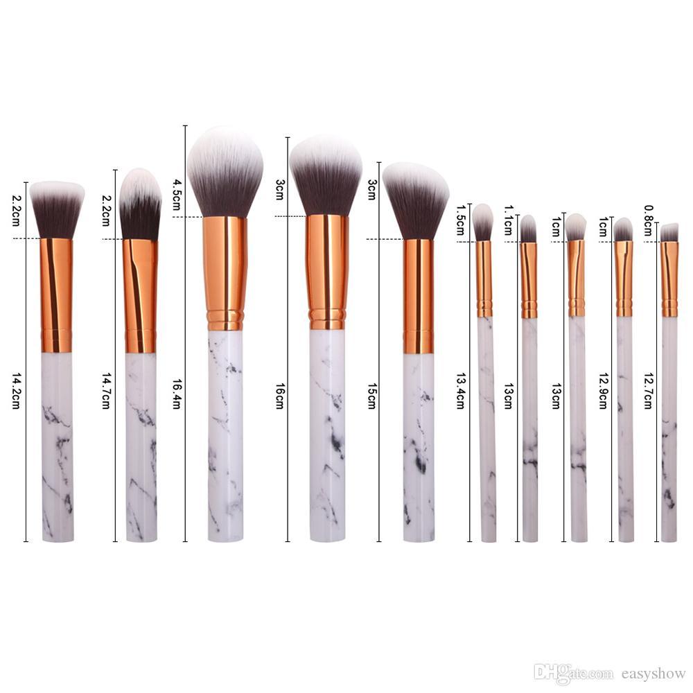 TOP la venta caliente más nueva 10 unids maquillaje de mármol pincel de maquillaje profesional Fundación BB Cream Hiqh calidad con PU Bucket GRATIS DHL