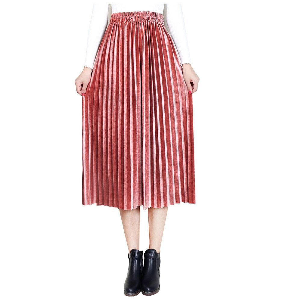 f06d935df6041f Automne hiver femmes midi taille haute jupe plissée longue Jupe longue  femme rose abricot noir café jupe de velours