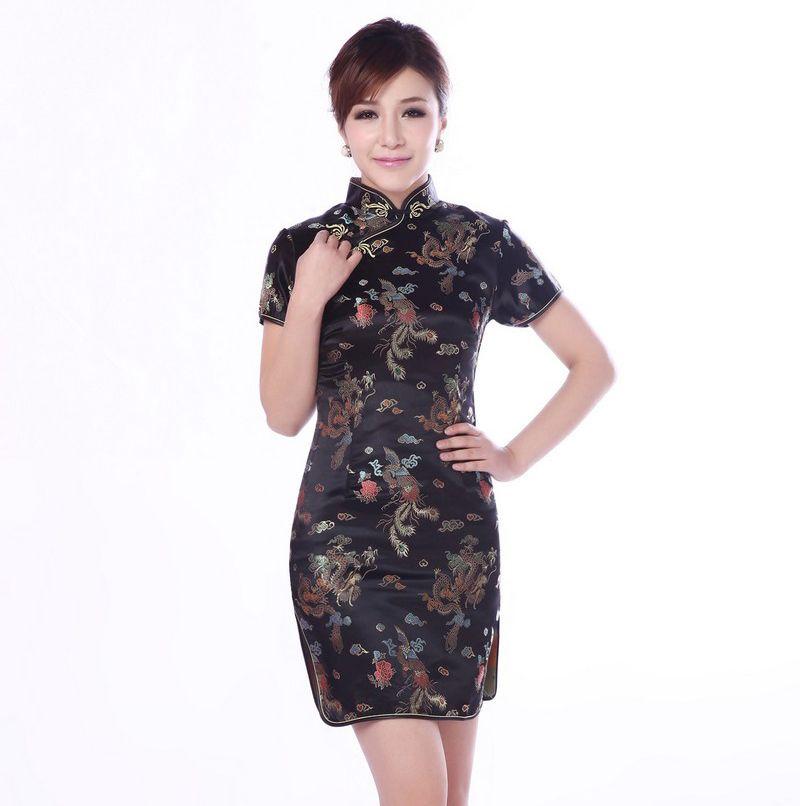 2018 Black Plus Size 3xl Chinese Women Dress Sexy Short Satin Qipao