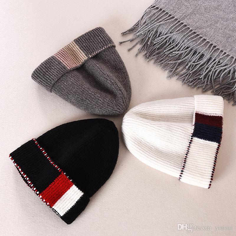 0f057141bc8 Autumn Winter New Warm Knit Hat For Men Women Plaid Skullies Thick ...