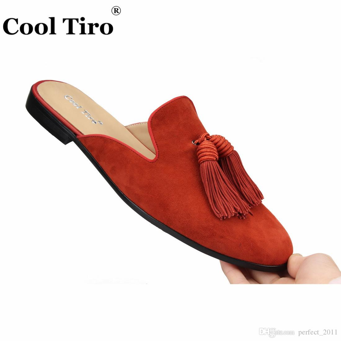 c429180d00fd9 Cool Tiro Caramel Suede Tassels Mules Men Slippers Smoking Slip-On Flats  Handmade Men's Dress Shoes Male Casual Shoes Genuine Leather