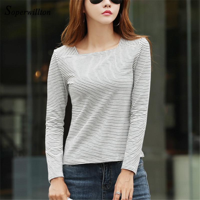 Long Sleeve Women T shirt Striped Office Lady Shirts 2018 Winter Spuare Collar basal Tshirt Female High Quality Korea Style