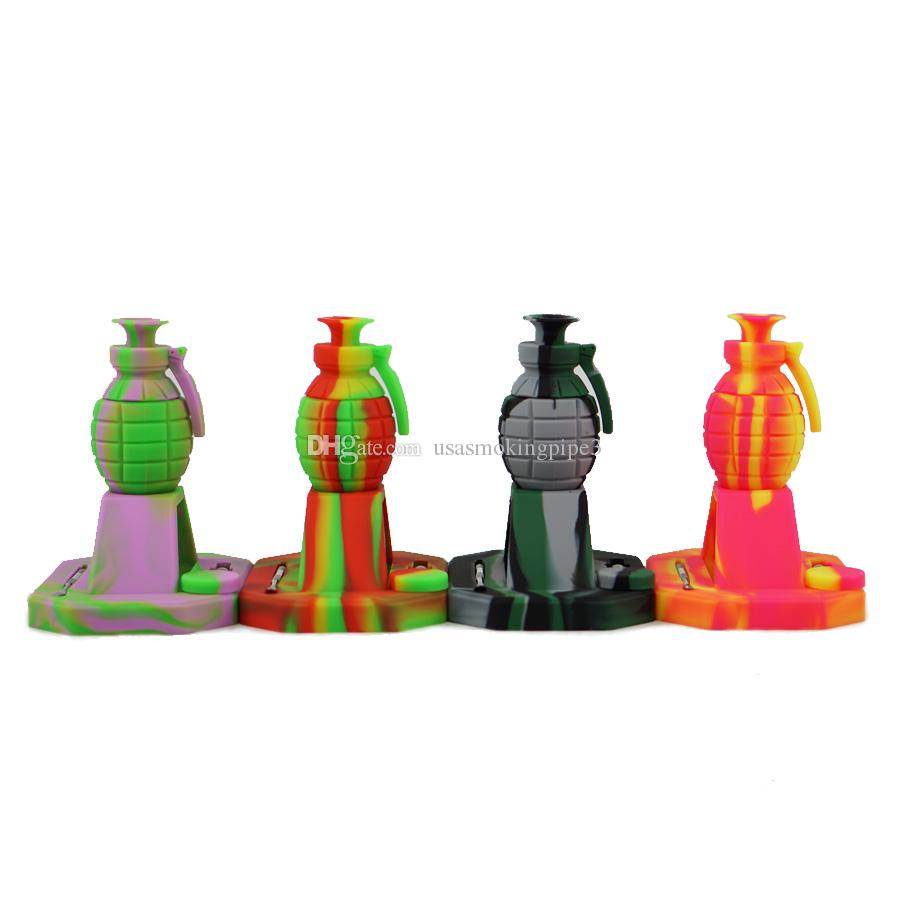 New design Grenade water smoking pipe smoking kits with 14mm Titanium Tip Multi color water pipe silicone bong