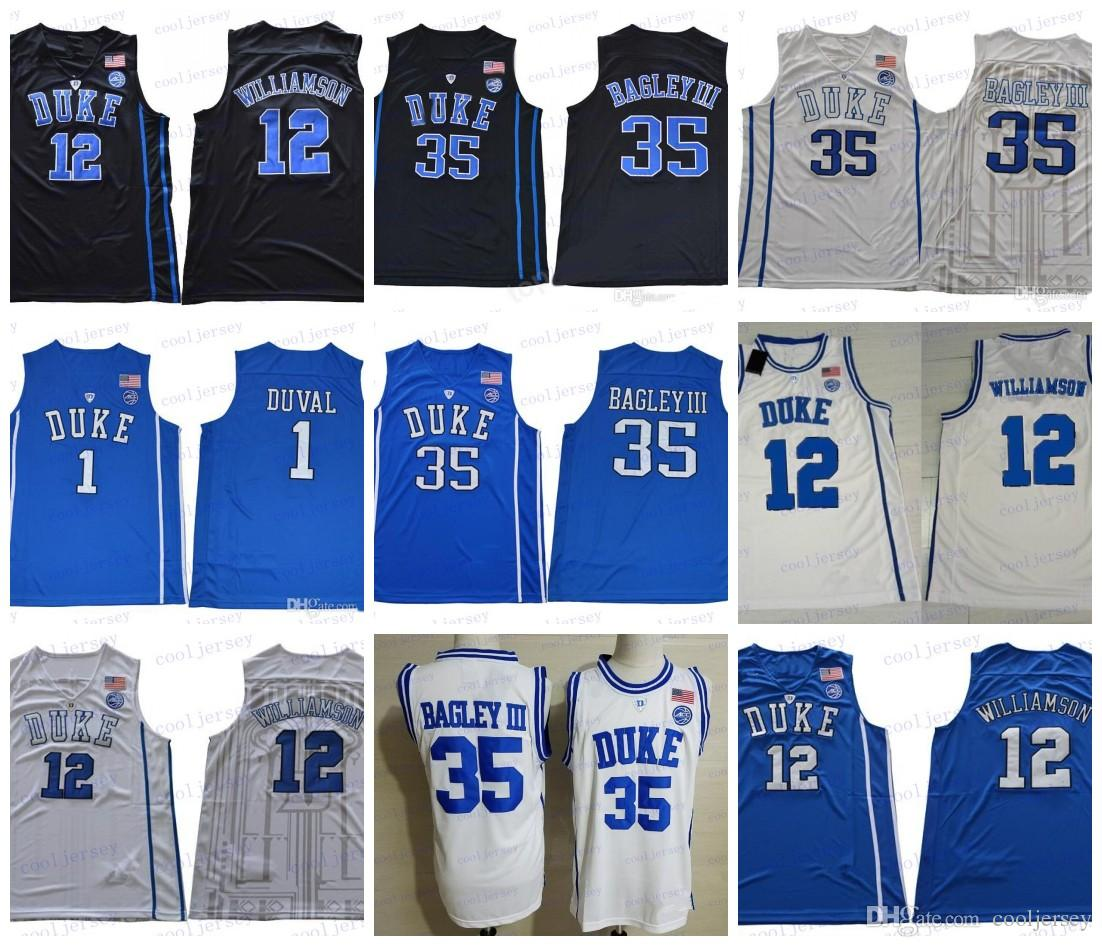 9639ec2191c9 ... authentic mens nike white college basketball jersey  2018 ncaa duke  blue devils 12 zion williamson 1 trevon duval 35 marvin bagley iii royal