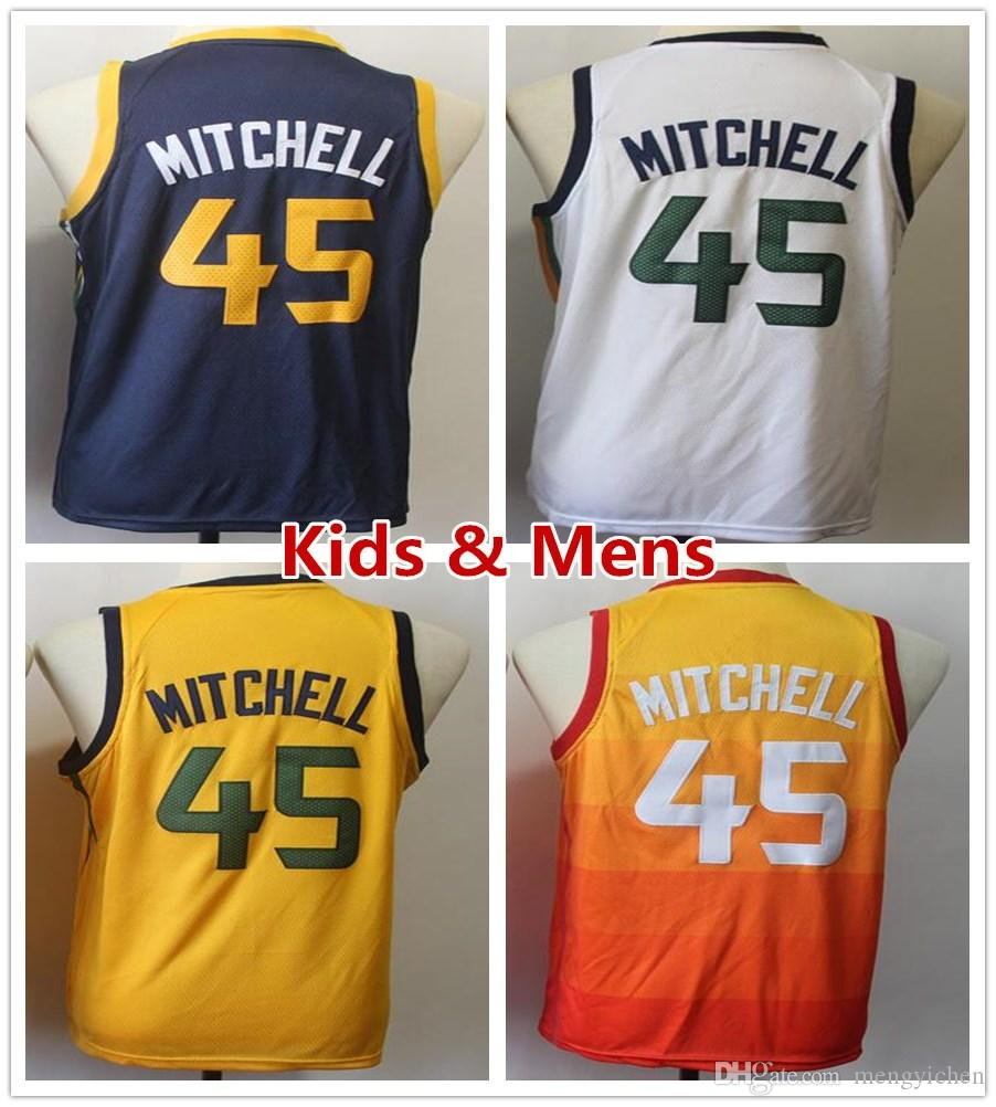 6dcfce3ebf2 Kids Youth Mens 45 Donovan Mitchell Basketball Jerseys The City ...