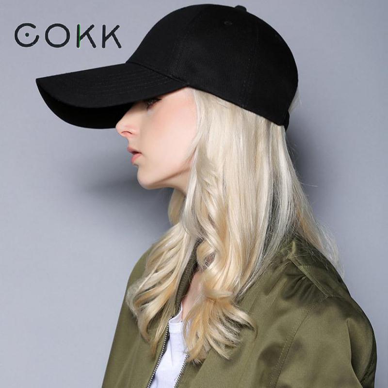 Compre COKK Gorras De Béisbol Sombrero De Mujer Para Hombre Snapback Gorra  De Béisbol Negra En Blanco Para Mujeres Hombres De Ala Ancha Larga Visera  ... 745f32b2677