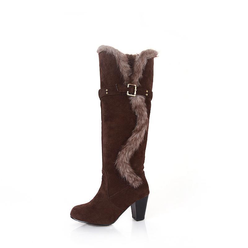 Acheter 2018 Femmes Plus La Taille 43 Hiver Genou Haut 7.5 Cm Talons Hauts Bottes  Femme Daim Peluche Bloc Talons Bottes Longues Dame Feutre Chaussures ... 5aa73ca705b9