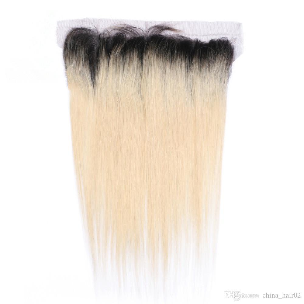 # 1B / 613 شقراء أومبير 13x4 يشبع أمامي إغلاق مع 3 حزم أومبير شقراء العذراء البرازيلي الشعر البشري حزمة صفقات مع أمامي