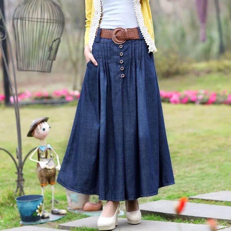 b6482d51f000 2019 S XL Long Jean Skirts 2016 Womens Denim Skirts Girls Bohemia Pleated  Jupe Blue Saia Longa Female Maxi Skirt Elastic Waist Female From Baica