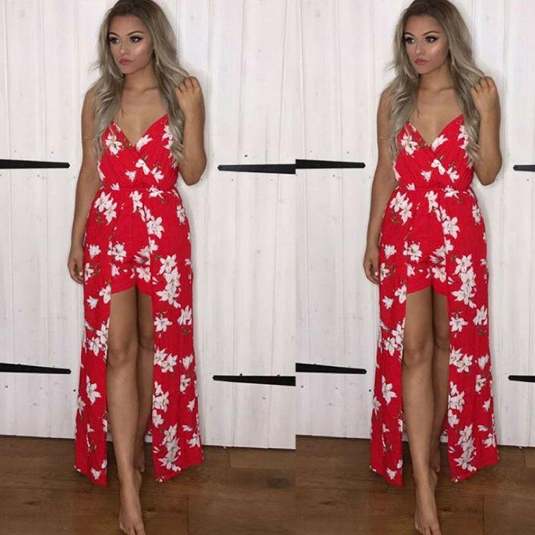 2018 Summer Boho Floral Print Beach Playsuit Overalls Vestidos Women Sexy V Neck Straped Jumpsuit Ladies Split Chiffon Body Suit