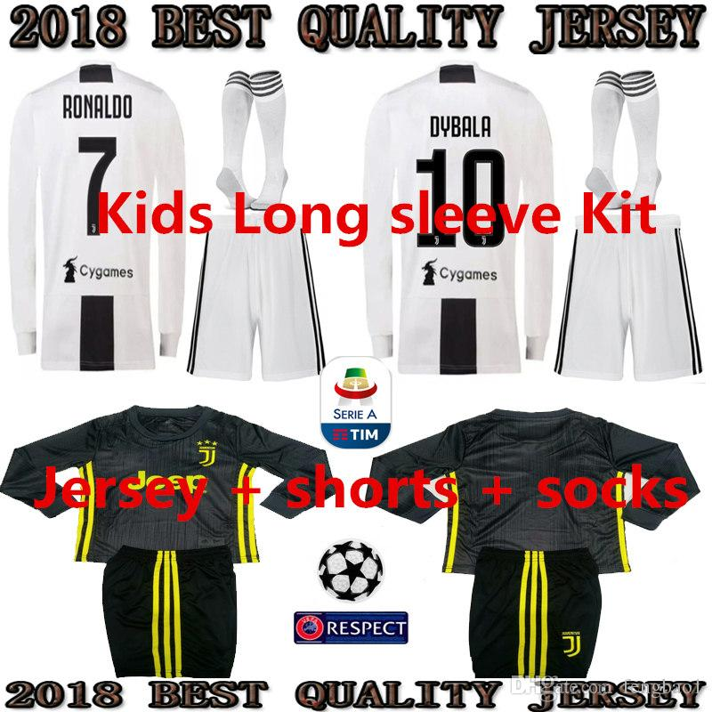 san francisco 029e0 35522 2019 CR7 Juventus Long sleeve KIDS KIT Jersey 18 19 RONALDO DYBALA Soccer  Shirt MARCHISIO MANDZUKIC PJANIC HOME WHITE football uniform