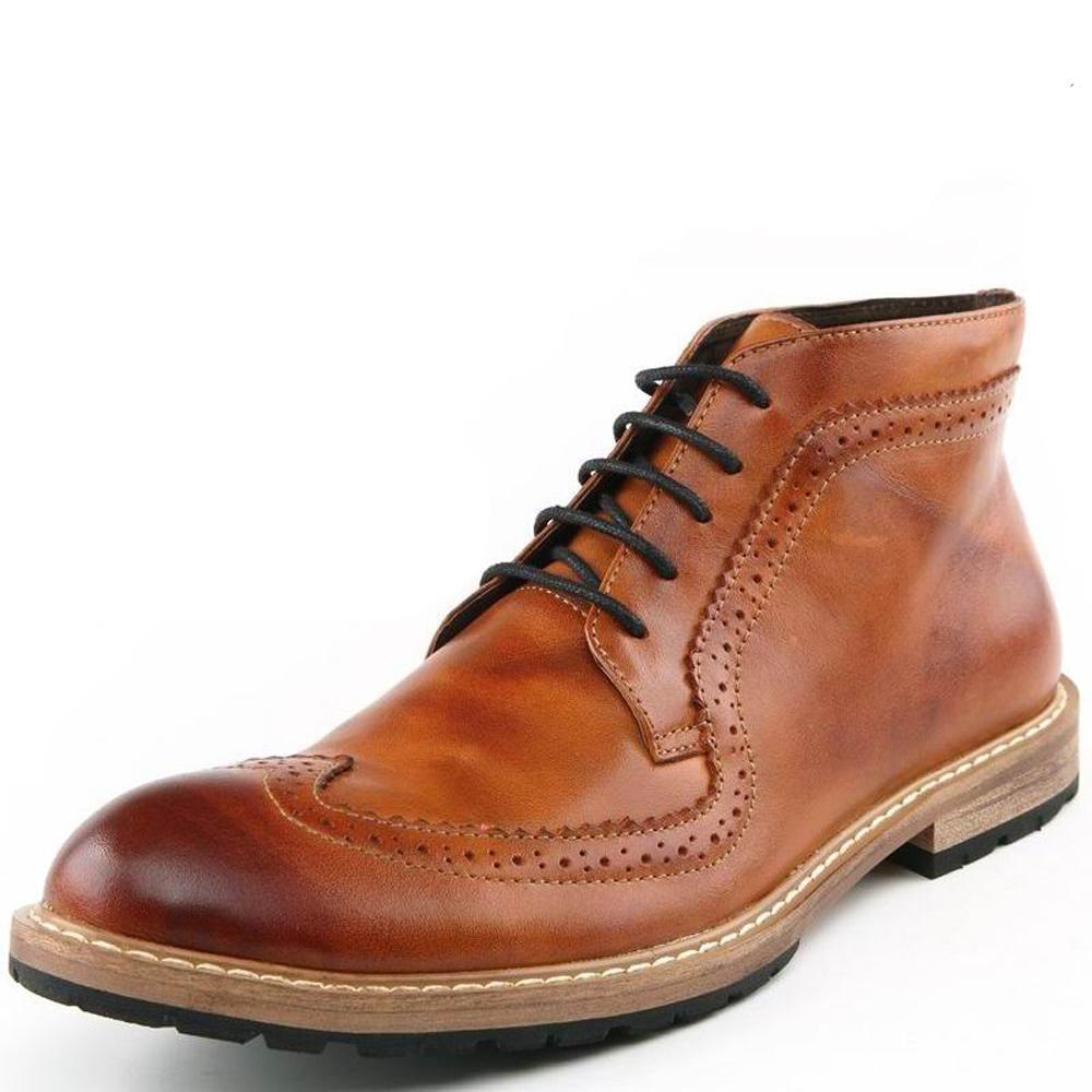 4f95d4e5d04dc 2018 Mens Casual Boots Echtes Leder Stiefeletten Schnüren Brogue Britische  Stiefel Kleid Schuhe Männliche Martin Stiefel Freies Verschiffen 1408Z