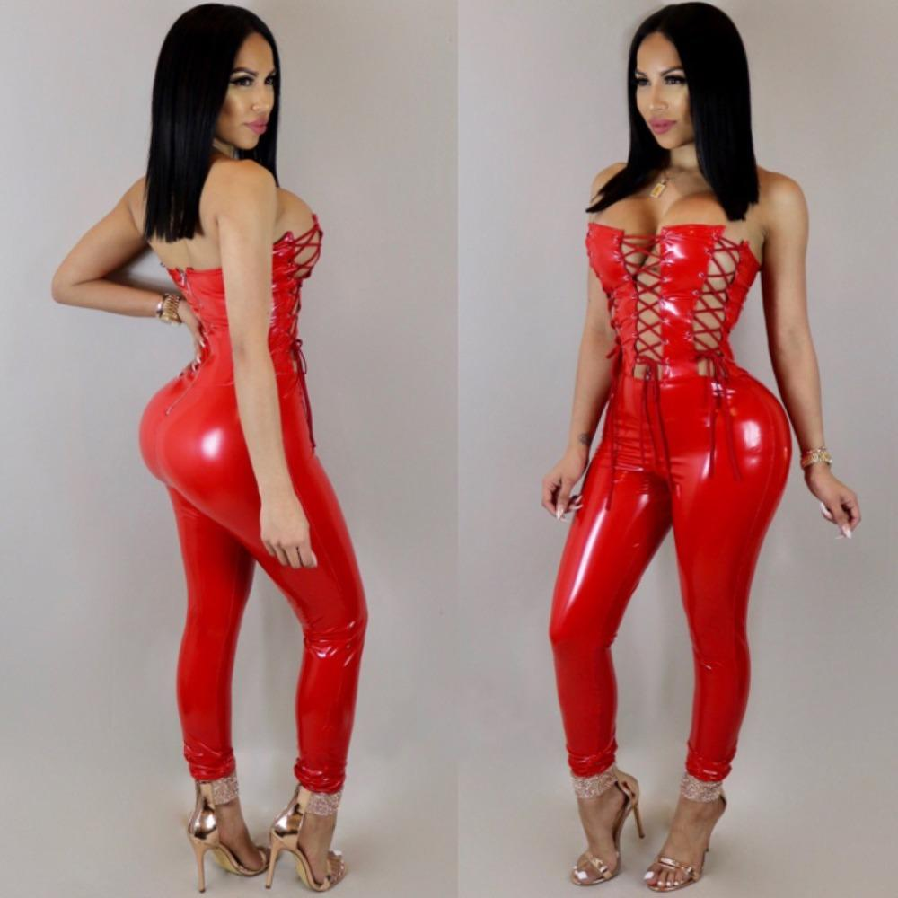 733356e2f02a 2019 VAZN Hot Fashion Design 2018 Bodycon Jumpsuit Sexy Strapless Club Wear  Full Length Leather Jumpsuit LD557 From Jellwaygood