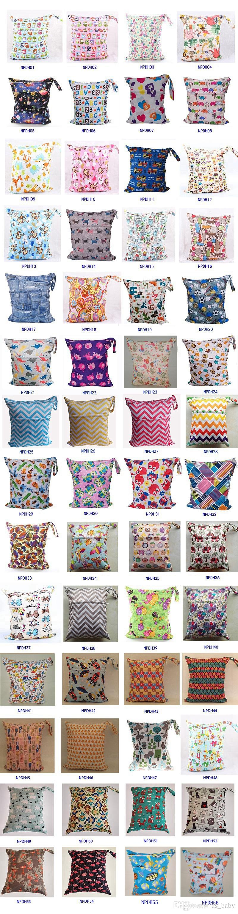 36*28cm pattern Double Zippered baby print cartoon waterproof wet dry diaper bag wet for babies pocket storage bag