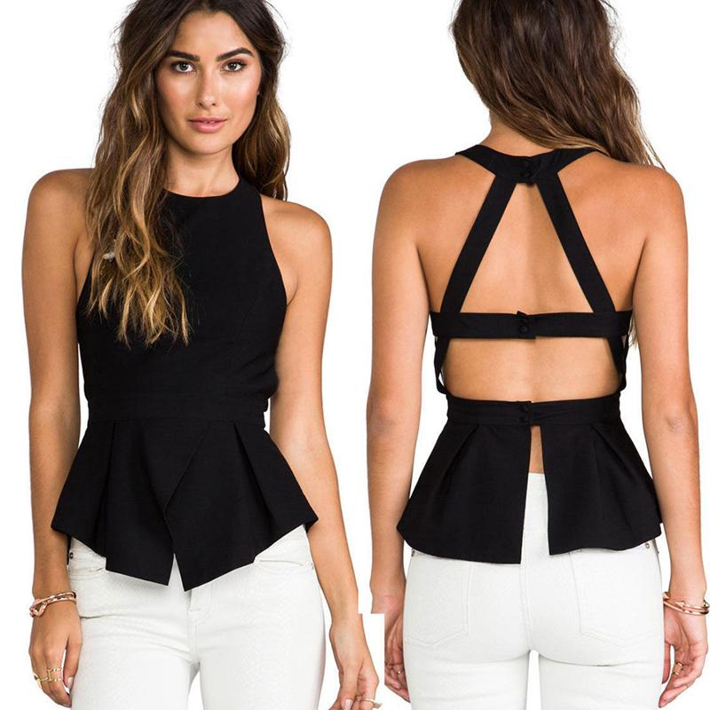caba9d129ab2e 2019 Black 2019 Summer Sexy Elegant Women Tops Sleeveless O Neck Backless Black  Crochet Casual Tanks Camis Tops Vest Camisole Shirt From Stephanie05