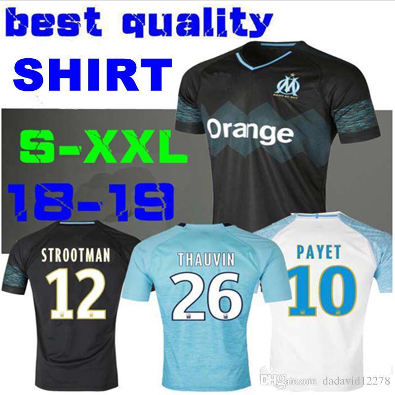 2018 2019 Olympique De Marseille Camiseta De Fútbol 18 19 OM Marseille  Maillot De Foot CABELLA PAYET L.GUSTAVO THAUVIN Camiseta De Fútbol De Local  Por ... 7a71c6f7a7959