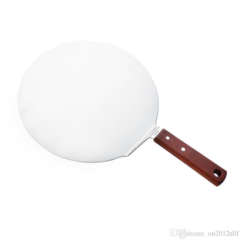 Ferramentas de cozimento de madeira alça de aço inoxidável bolo círculo pá ocidental bife de queijo de pizza cortador de pás