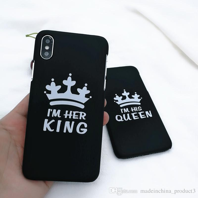 Fashion King Queen Matte Hard PC Ultra Thin Back Covers for IPhone X 7 8 plus Phone Cases Luxury Crown Slim Shell Coque