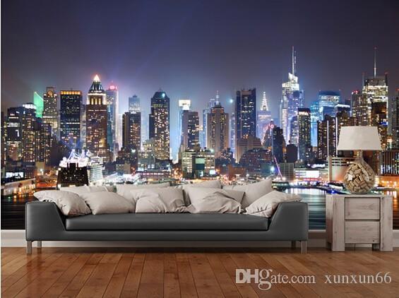 Fondo de pantalla de fotos personalizado, Nueva York, Manhattan Skyline at Night. Modernos murales en 3D para la sala de estar, dormitorio, cocina, pared, papel pintado de PVC.