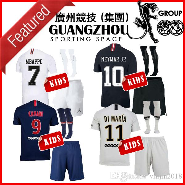 1624e659637 2019 2018 PSG AWAY KIDS Kit Soccer Jerseys 18 19 Mbappe 7 Home VERRATTI  CAVANI DI MARIA LASS MAILLOT DE FOOT CHILD JERSEY SHIRT From Vinjin2018