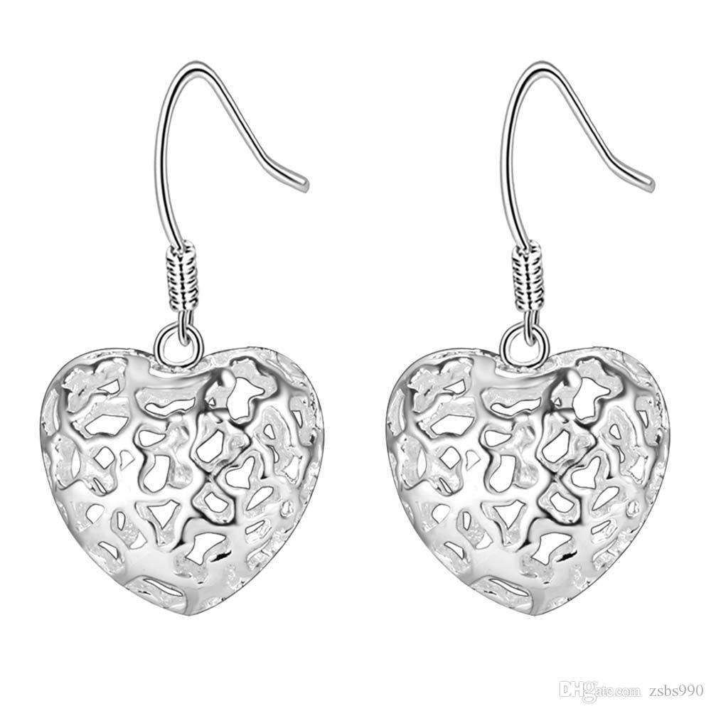 Haute qualité 925 bijoux en argent ensemble pendentif coeur goutte boucles d'oreilles cadeau de Saint-Valentin pour les femmes livraison gratuite /