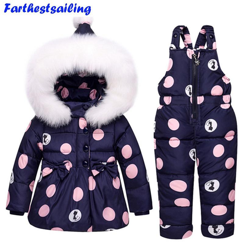 90a146d00 Baby Boys Girls Winter Duck Down Jackets Children Warm Outerwear Coat+Pant  Clothing Set Snowsuit Kids Clothes Parka Snow Wear Jackets Kids Jacket Kids  From ...