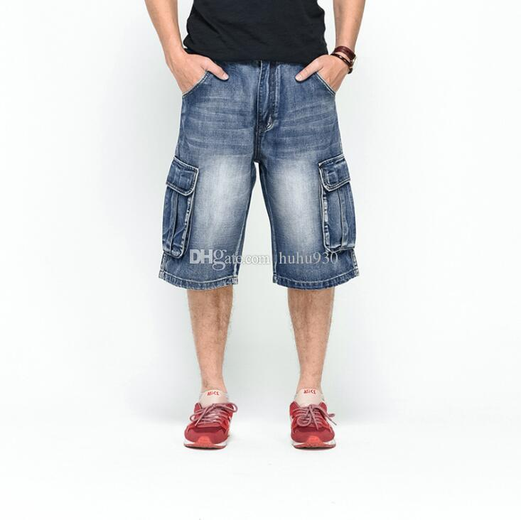 7ae90fe921720 Compre 2018 Hombres Tallas Grandes Holgadas Sueltas Jeans Cortos Para  Hombres Boy Hip Hop Pantalones De Skate Para Raperos Rap Pantalones Hip Hop  Azul De ...