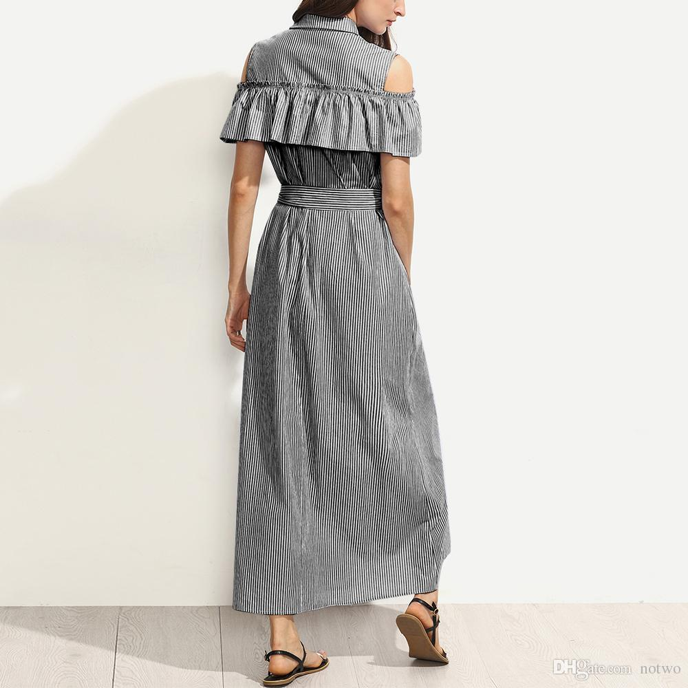 2018 Fashion OL Shirt Dresses Fashion Lapel Neck Short Sleeves Off-Shoulder Split Striped Long Dresses Wholesale Free Shipping 1260