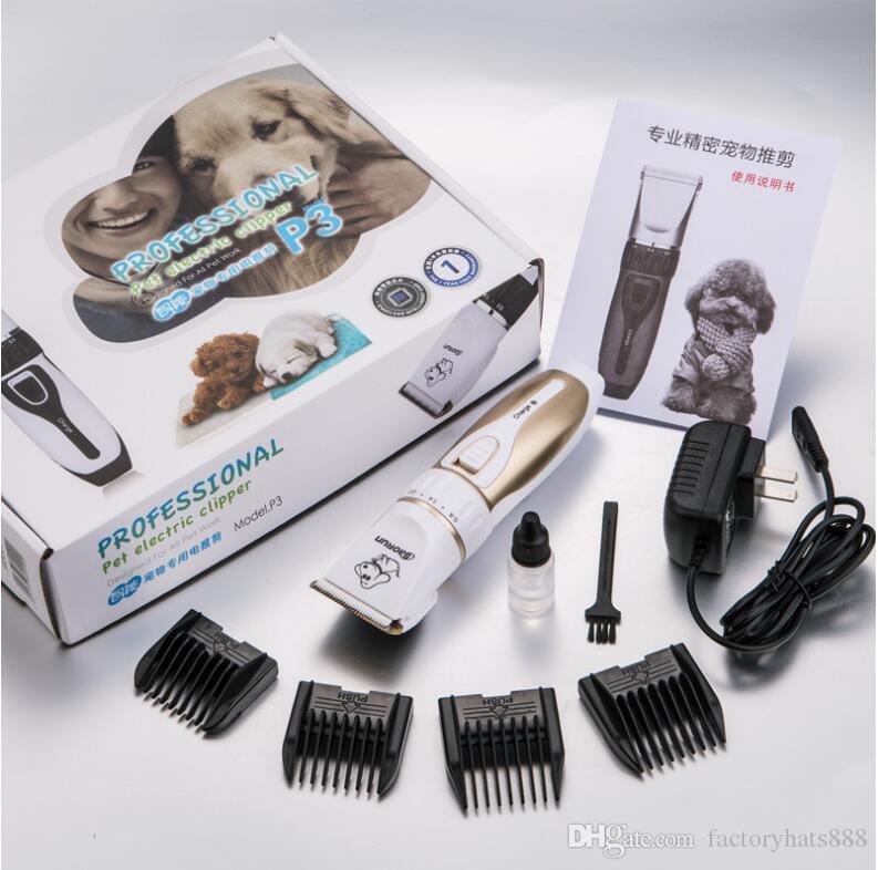 Kit de aseo profesional recargable eléctrico P3 Pet Dog Cat Animal Hair Trimmer Afeitadora Maquinilla de afeitar Conjunto de máquina de corte