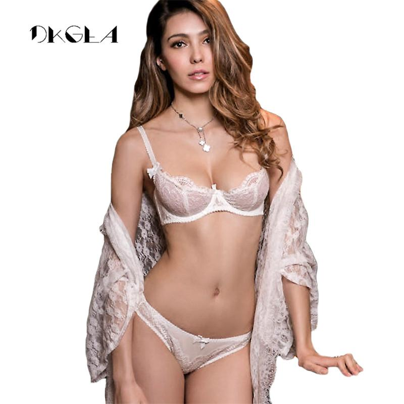 39bea8352da3 White Lace Bra Set 1/2 Cup Hollow Out Brassiere See Through Bra Transparent  Lingerie Women Plus Size Sexy Underwear Sets