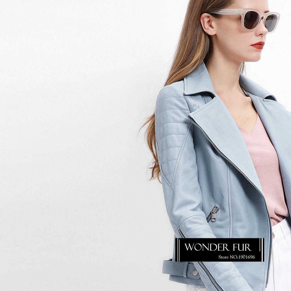 a9a346102723 2019 Baby Blue Genuine Leather Jacket For Women Baby Pink Leather ...