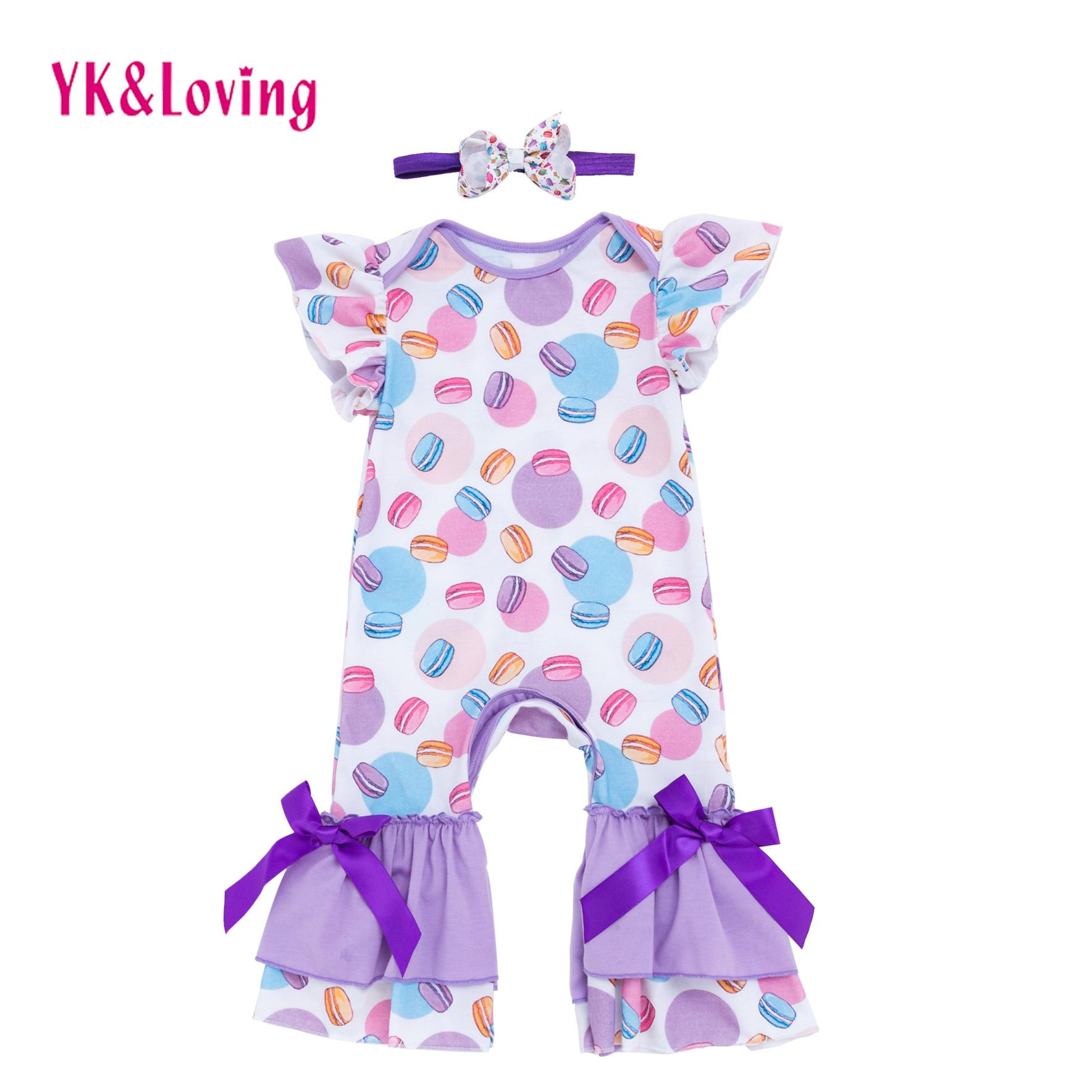 Newborn Baby Girl Clothes Jumpsuit Sleeveless Cotton Romper Macaron