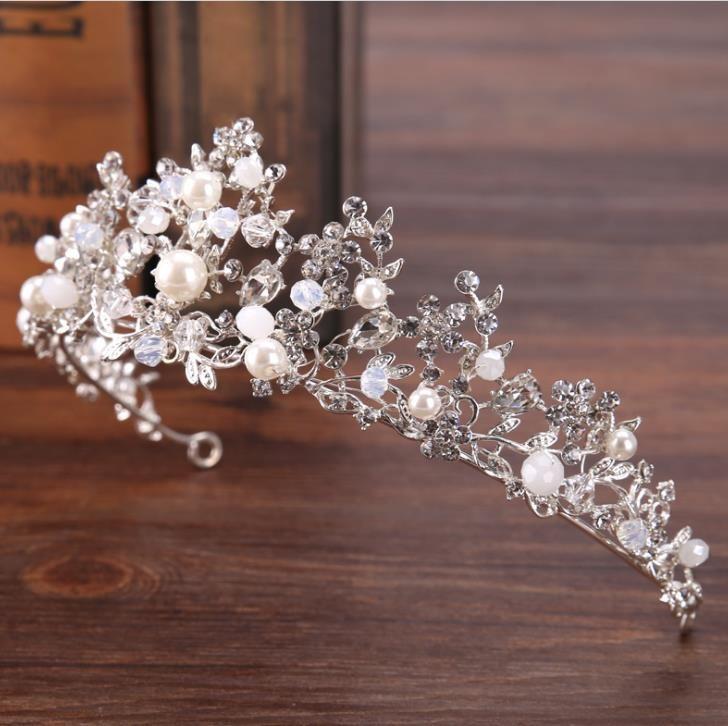 Gümüş kristal boncuk taç taç prenses saç gelin düğün aksesuarları