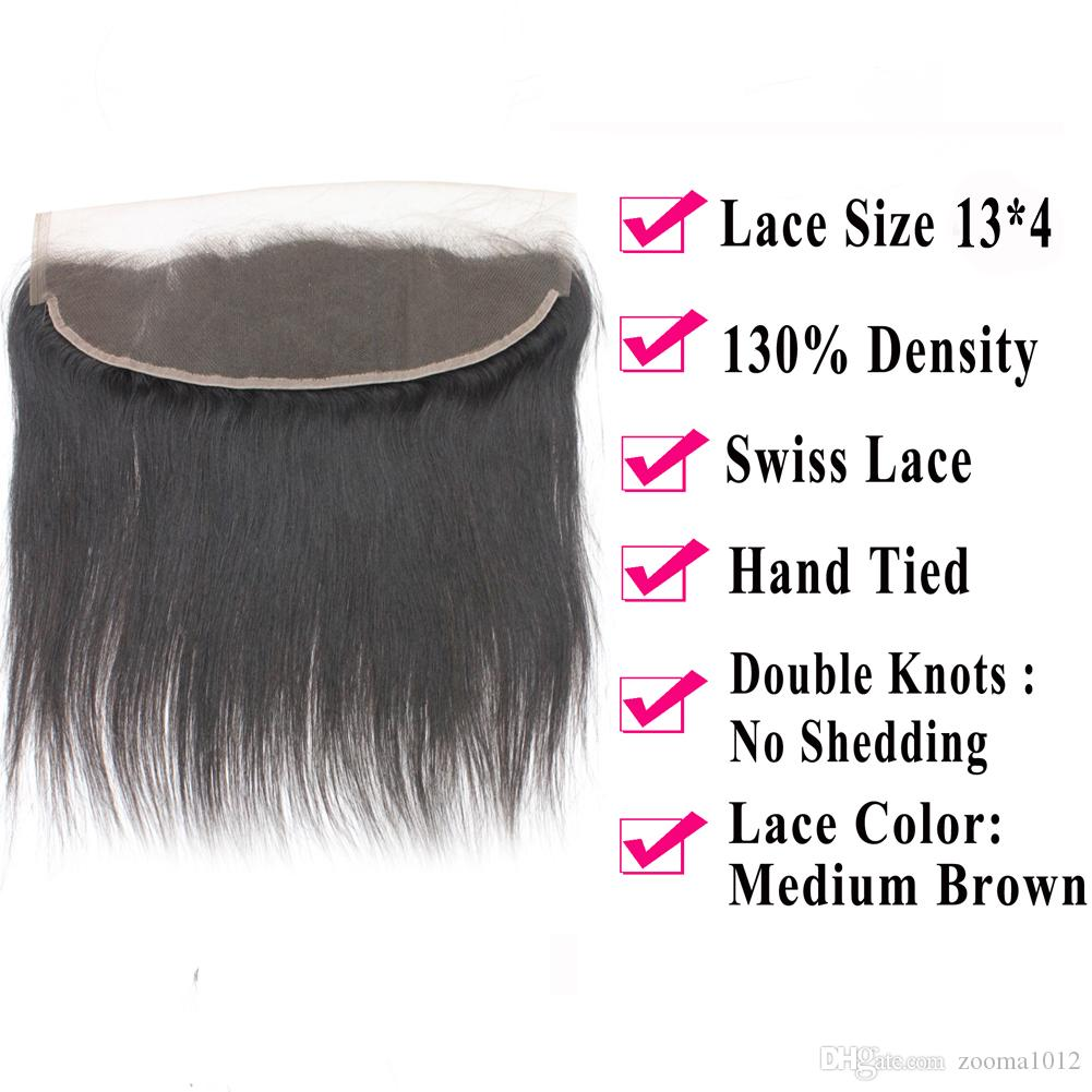 Virgin Brazilian Straight Hair Bundles With Lace Frontal Closure 1B Remy Peruvian Human Hair Weave With Closure Frontal Hair Piece Free Part