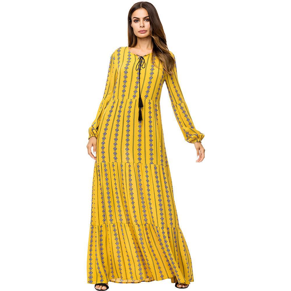 34800bda25 2019 187197 Muslim Women Dresses Big Size Women S Fashion Printing Big  Pendant Long Musulman Dress Muslin Robes Corban Fashion Vestidos Mujer From  Insino