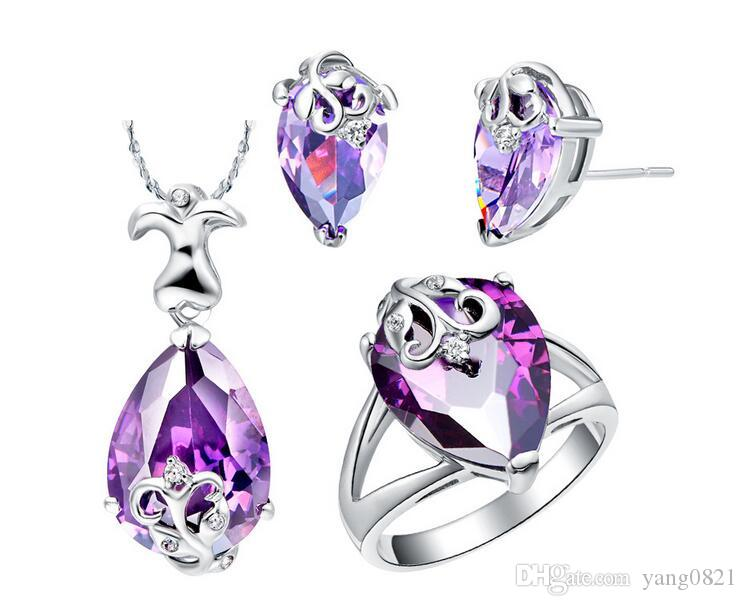 2018 New Fashion Women platinum plated purple drop shape crystal pendent necklace earrings ring set charm jewelry set accessory