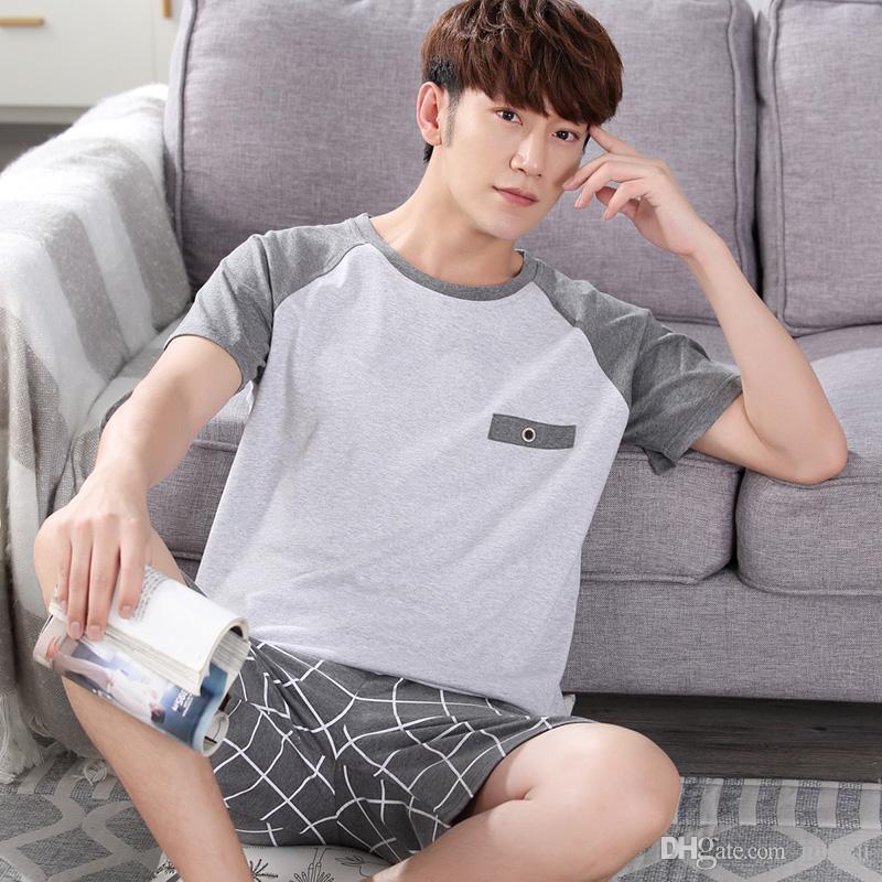 31aa83d8bd3b Men Pajama Sets 100% Cotton 2018 Summer Male Sleepwear Long-Sleeve O ...