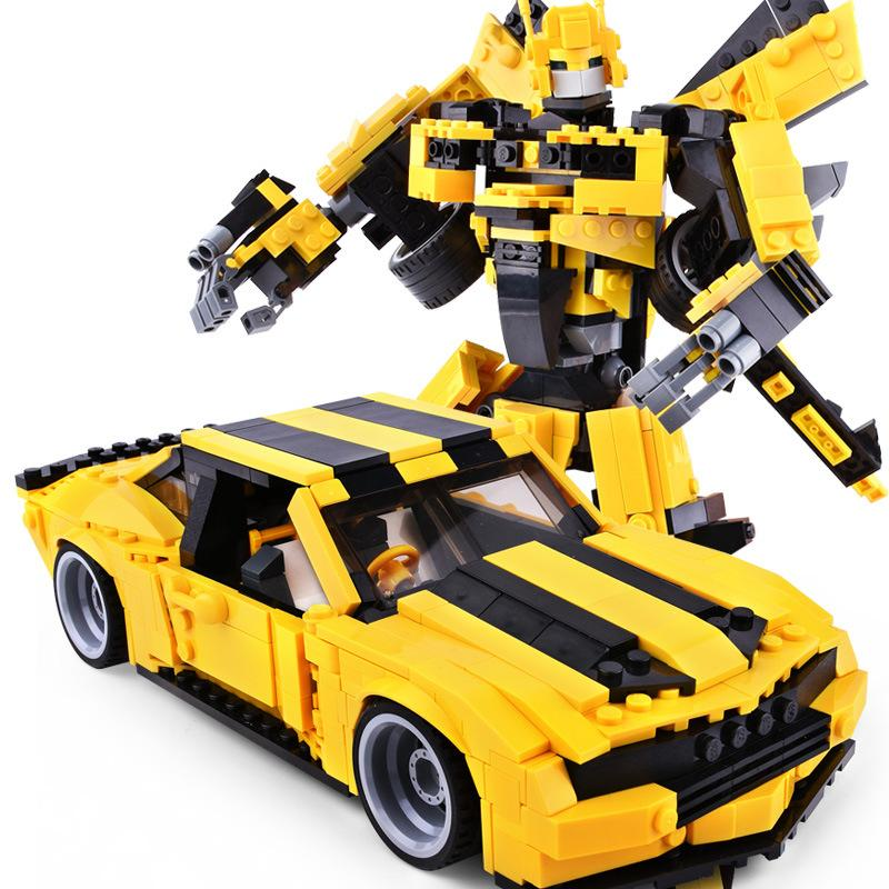 Bumblebee Adamant Child Boy Assembles Puzzle Building